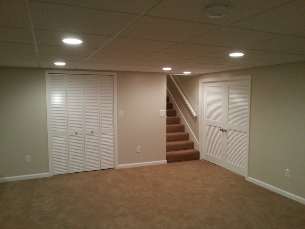 basement finish carpet trim doors canned lights basement ceiling lighting