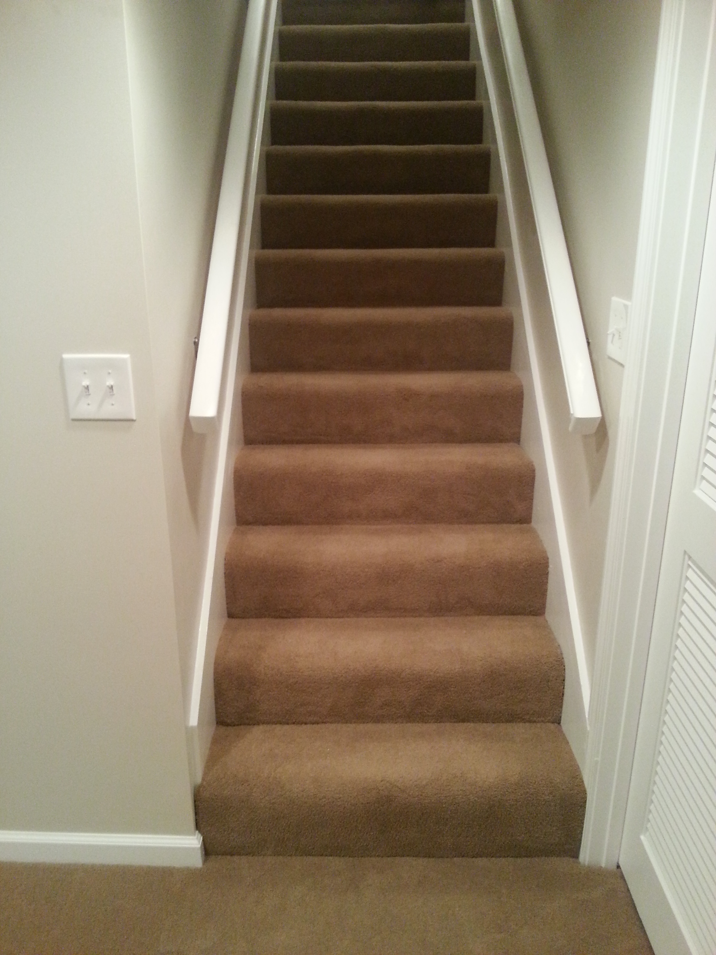 basement finish carpeted stairs and handrails schrader 39 s